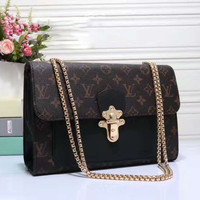 LV Women Shopping Leather Tote Handbag Shoulder Bag Black