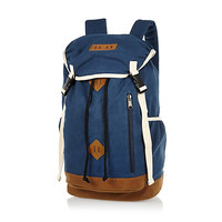 River Island MensBlue canvas backpack