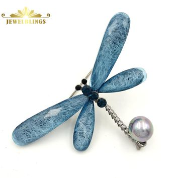 Stunning Vintage Blue Dragonfly Brooches Silver Tone Imitated Gray Pearl Deco Crystal Dark Blue Dragonfly Pins Insect Jewelry