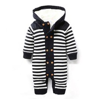 Winter Sweater Pullover Cotton Hooded Striped Thick Warm Infant Baby Winter Clothes ABS-1532