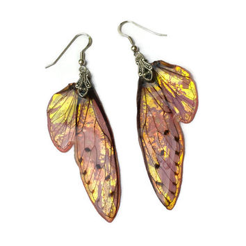 Fairy Wing Earrings - Iridescent Wings - Fantasy Jewelry - Gift for Her - Sterling Silver Earrings - Bridesmaid Earrings - Hibiscus Sunset