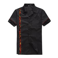 Candow Look Men's Clothing Stores New Arrived Cotton Flame Panel Male Rockabilly Hiphop Vintage Club Plus Size Casual Shirts