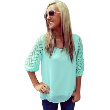 Lace Patchwork Green T Shirt