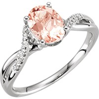 14kt White Gold Oval Morganite & .06 CTW Diamond Twist Band Ring