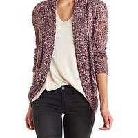 MARLED & SLUB KNIT COCOON CARDIGAN WITH CROCHET
