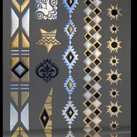 Gold And Silver Bracelets Metallic Flash Temporary Body Tattoos