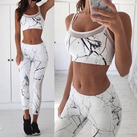 Sexy two piece set Crop top+ Legging tracksuit Women 2 Pieces Sets Fitness Clothing Workout For Female