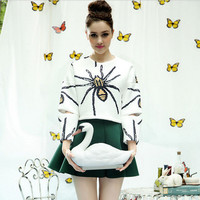 White Big Spider Print Cut Sleeve Shirt With Green Mini Skirt