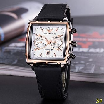 Emporio Armani New fashion leather watchband business casual men watch 3#