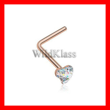 Rose Gold Heart Glitter Sparkle L-Shaped Nose Ring 316L Surgical Steel