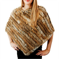 Classic Womens Real Knitted Rabbit Fur Shawls Spring Slim Ponchoes Stoles = 1932344004