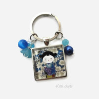 Blue Kokeshi doll, glass keychain or necklace, Momiji,  chiyogami, ningyo, Japanese girl, washi