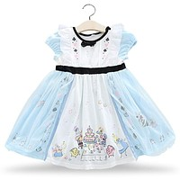 2018 New Princess Girls Dresses black bowtie Print Baby Girl Strap Dress Cosplay Kids Costumes Clothing Snow White Alice infant