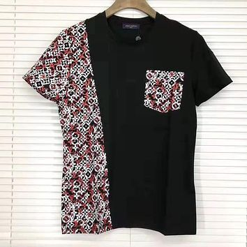 Louis Vuitton LV Summer Popular Women Men Casual Print Color Matching Short Sleeve Top Tee Black