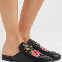GUCCI Princetown appliquéd horsebit-detailed leather slippers