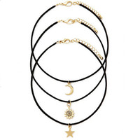 3 Pcs Sets Star Moon Sun Chokers Necklaces