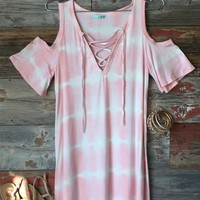 Lace Up Tye Dye Dress: Pink