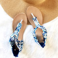 Woven Madness Sandals In Blue