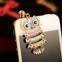 Colorful Owl Pendant Plugy for iPhone HGJ213