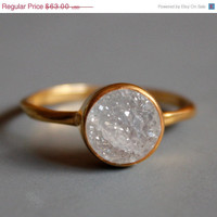 BOXING DAY SALE Gemstone Ring  Druzy Ring  Round Shape  by OhKuol