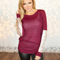 Party Sequins Patch Sweater Burgundy