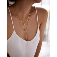 Star & Triangle Pendant Layered Chain Necklace