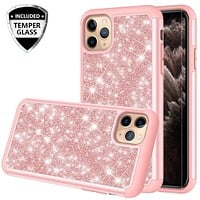 Apple iPhone 11 Pro Max Case, Glitter Bling Heavy Duty Shock Proof Hybrid Case with [HD Screen Protector] Dual Layer Protective Phone Case Cover for Apple iPhone 11 Pro Max - Rose Gold