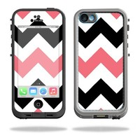 MightySkins Protective Vinyl Skin Decal Cover for LifeProof iPhone 5C Case fre Case Sticker Skins Black Pink Chevron