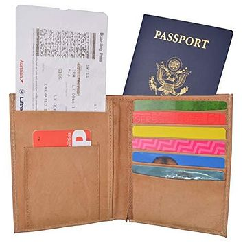 Passport Holder Travel Wallet Leather USA Logo Case Cover - Securely Holds Passport, Business Cards, Credit Cards, Boarding Pass