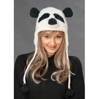 Panda Bear Wool Knit Pilot/Aviator Animal Cap/Hat with Ear Flaps and Poms
