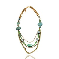Natural Stone Czech Glass and Crystal Multi Chain Long Necklace