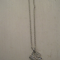 Four Leaf Clover Necklace - Silver Rhinestone Four Leaf Clover necklace - 4 Leaf Clover Necklace - St. Patrick's Day Necklace