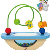 Hape 0429 Fish Bowl Fun Toddler Wooden Toy with Coloring Book