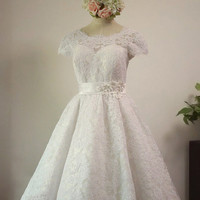 Custom Made Vintage Short Sleeves Alencon Lace Wedding Dress,Tea-Length Lace Bridal Gown, Lace Beach Wedding Gown