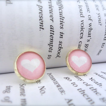 Glass Dome Earrings, Heart Earrings, Pink Earrings, Cabochon Earrings, Round, Light Pink, Gifts Under 15, Valentines Day, White and Pink