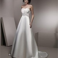 Gorgeous Beaded Waistline Empire Waist Stain A-line Cathedral Train Wedding Dress WD0146