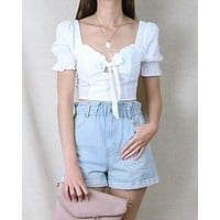 Distraction Bustier Cropped Blouse in White