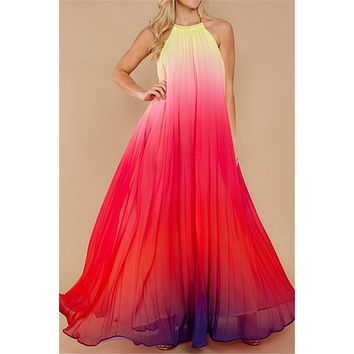 Chicnico My Fairy Chiffon Pleated Rainbow Maxi Dress