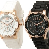Black and White Rosegold Faux Chronograph Silicone Watch w/ Rhinestones:Amazon:Watches