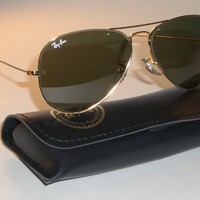 52 14MM SMALLEST B&L RAY BAN L0207 G15 ARISTA GOLD-PLATED AVIATOR SUNGLASSES
