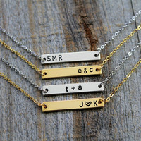 Gold Bar Initial Necklace - Hand Stamped Personalized Gold Bar Letter Necklace Custom Bridal Bridesmaid Gift Wedding Minimalist Jewelry