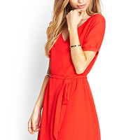 FOREVER 21 Self-Tie Shift Dress Red