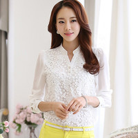 White Patchwork Long Sleeve Blouse