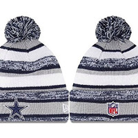 Unisex Winter Warm Wool Sports Cap Cuff Knit Hat Pom Beanie (Dallas Cowboys)