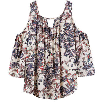 Floral Blouse With Cold Shoulder in Multicolor