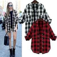 Oversized Women Turndown Collar Long Sleeve Plaid Checked Shirt Blouse Plus Tops