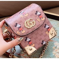 GUCCI & Disney New fashion mouse more letter leather chain shoulder bag crossbody bag women
