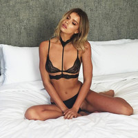 Sexy halter black lace bra Hollow out intimates bralette top Women strappy backless bra Summer beach brassiere
