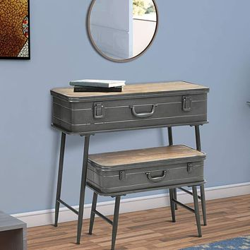 Recessed Metal Storage Trunk Console Table with Barn Latch Closure, Set of 2, Gray and Brown By Casagear Home