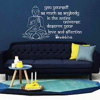 Wall Decal Vinyl Sticker Decals Art Home Decor Murals You yourself, as much as anybody Buddha Quote Yoga Studio Indian Lotus Flower Mandala Namaste Decals KV24